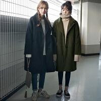 2018新款韩版中长款毛呢外套女冬季韩国冬装学生茧型加厚