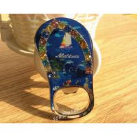马尔代夫旅游纪念品 创意礼品金属镶钻拖鞋冰箱贴开瓶器 原单