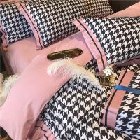 ???磨毛床上四件套全棉纯棉简约拼接粉色床单被套四件套