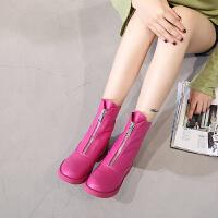 增高短靴女秋2018新款玫红前拉链马丁靴冬季网红ins短靴chic靴子