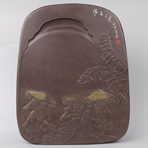 中国非物质文化遗产传承人群 钟景锐作品《阳春三月》砚 宋坑