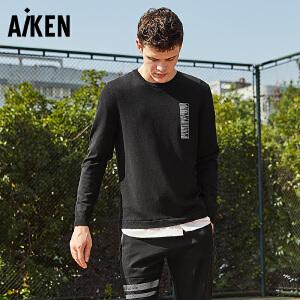 Aiken毛衣男2017秋季新款假两件套头衫黑色潮印花线衫针织衫青年