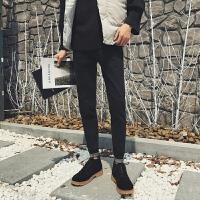 2018春季新款韩版男士修身牛仔裤潮流帅气小脚长裤学生显瘦锥形裤 黑色