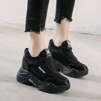 内增高女鞋10cm秋季2018新款百搭潮韩版显瘦休闲鞋厚底黑色运动鞋