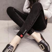 №【2019新款】冬天美女穿的加绒裤女新款加厚弹力牛仔铅笔裤黑棉小脚长裤外穿打底裤