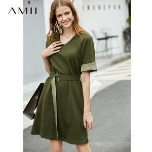 【到手价:129.9元】Amii极简法式少女chic连衣裙2019夏季新款V领腰带撞色拼接针织裙