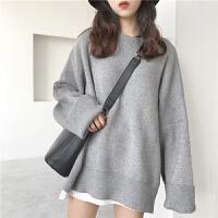 毛衣女秋冬外穿韩版chic复古中长款宽松学生套头针织衫上衣外套潮