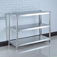 不锈钢厨房置物架3层收纳货架子微波炉烤箱落地架三层储物架调节