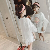夏季女童连衣裙网纱中大童韩版时尚公主裙新款童装白色裙子