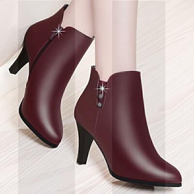 2018新款冬季加绒女靴小跟春秋高跟鞋真皮细跟短靴妈妈靴中跟皮鞋SN9438 酒红色 TS710-5加绒