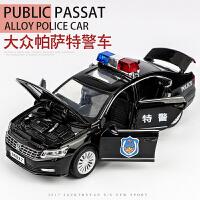 儿童玩具仿真警车模型合金大众小汽车男孩玩具警察车六开门车模 帕萨特警车-黑