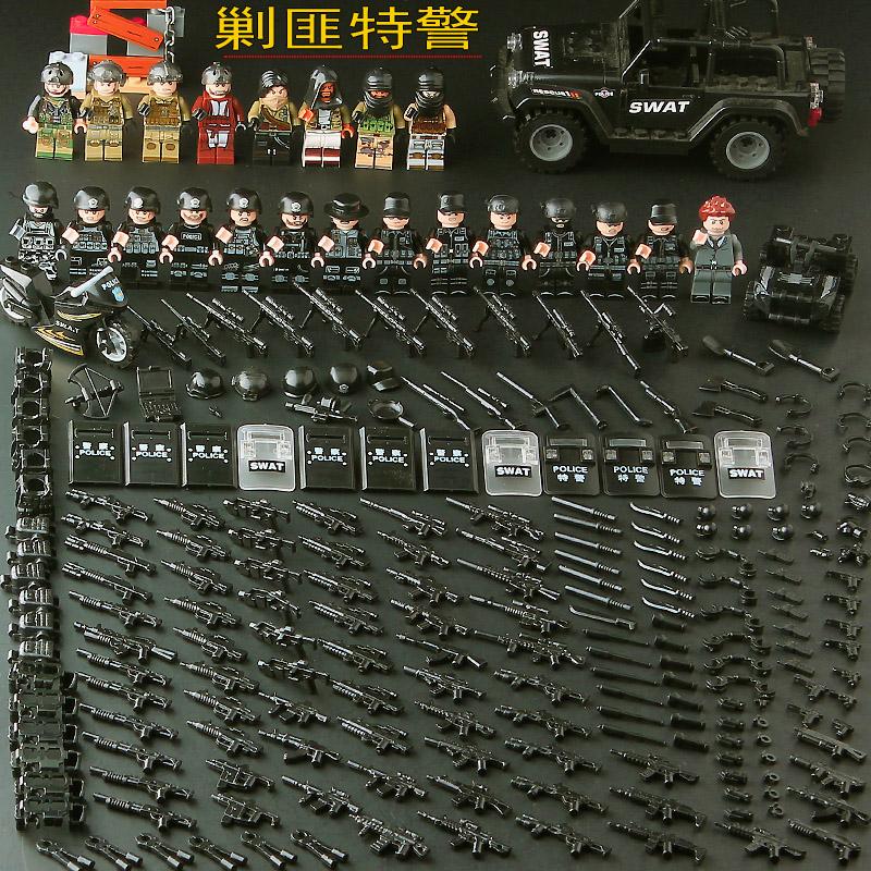 兼容乐高积木特种兵军事小人仔武器包装备穿越火线特警积木拼装玩具吃鸡98k