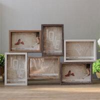 6寸6格组合连体木质相框复古美式风挂墙装饰品照片墙像框