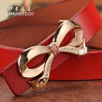 女士皮带真皮细平滑扣红色蝴蝶结裙带女款装饰窄韩版时尚白色腰带