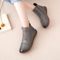 真皮靴子女鞋秋季女短靴手工加绒舒适软底防滑平底休闲款妈妈棉鞋SN1434