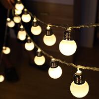 led4.5厘米仿真灯泡圆球彩灯宿舍装饰灯串腾悦婚庆用品节日灯饰 USB款 暖白 10米80灯
