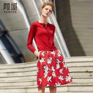 颜域品牌女装2017新款冬季红色蝴蝶结长袖内搭毛衣短款打底针织衫