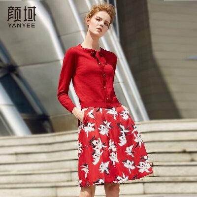 颜域品牌女装2017新款冬季红色蝴蝶结长袖内搭毛衣短款打底针织衫简约针织毛衫,时尚大气
