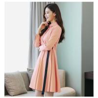 连衣裙POLO领修身显瘦百搭潮流简约个性时尚长袖2018年春 粉红色 S