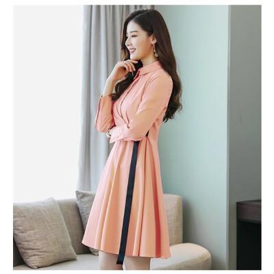 连衣裙POLO领修身显瘦百搭潮流简约个性时尚长袖2018年春 粉红色 S 发货周期:一般在付款后2-90天左右发货,具体发货时间请以与客服协商的时间为准