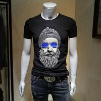 男士短袖t恤男2018夏装新款圆领青年韩版潮流个性人物印花半截袖 黑色 M