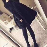 胖mm20秋冬新款针织毛衣连衣裙大码女装宽松遮肚子加厚打底裙子