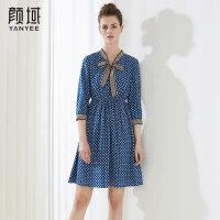 颜域品牌女装2018夏季装新款飘带时尚优雅X型撞色收腰显瘦连衣裙