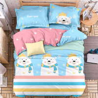 被套单件纯棉秋冬双人被单人被罩学生1.5米1.8m床150x200x230 浅蓝色 温大白熊