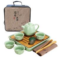 家用日式简约茶盘泡茶壶黑陶快客杯 汝窑开片陶瓷功夫茶具套装