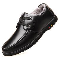 冬季男士加绒皮鞋男真皮黑色保暖加厚棉鞋男商务休闲中老年爸爸鞋 黑色 系带 加绒款