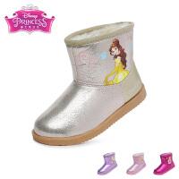 迪士尼Disney童鞋儿童雪地靴2017新款小童加绒保暖靴子女童时尚女靴(3-10岁可选) DF0187