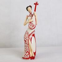 创意家居摆件手绘树脂工艺品新中式人物客厅摆饰装饰品