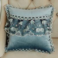 欧式蕾丝边抱枕靠垫套含芯真皮沙发靠枕办公室腰靠床上大靠背