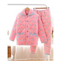 冬季睡衣女加厚大码珊瑚绒三层夹棉法兰绒保暖棉袄甜美家居服套装