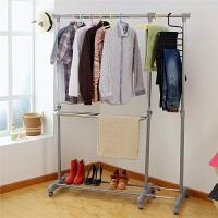 单杠式可伸缩/升降单杆室内晾衣架落地带轮可移动阳台凉晒衣架