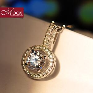 新年礼物Mbox项链 女款韩国版S925银镶嵌施华洛世奇锆石锁骨项链 月光爱人