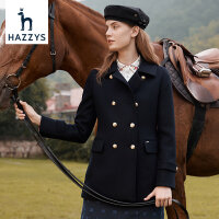 Hazzys哈吉斯羊毛大衣女2020年新款毛呢子秋冬�赓|短款英���L外套