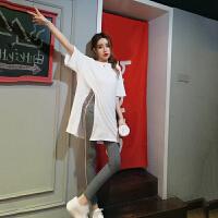 女士运动套装时尚百搭休闲圆领开叉中长款T+高腰杠条打底裤两件套 白衣+灰裤 均码