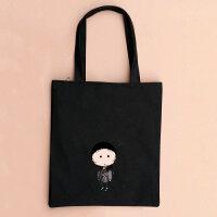 帆布包女单肩韩国版简约学生书包大购物袋文艺拉链手提袋布包 小丸子书包-黑包