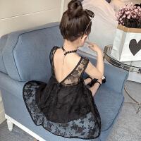夏季新款韩版女童装蕾丝领漏背无袖中小儿童连衣童裙刺绣纱裙