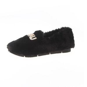 WARORWAR新品YM161-005冬季欧美平底舒适水钻女士毛毛鞋
