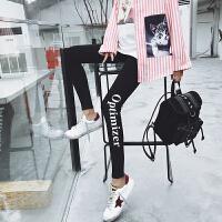 2018春季新款打底裤女外穿黑色铅笔裤小脚裤紧身裤韩版女生裤子潮 黑色 均码