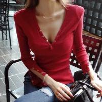 不规则T恤女秋冬装长袖低胸深v领漏胸上衣打底衫衣服夜店性感收腰 均码