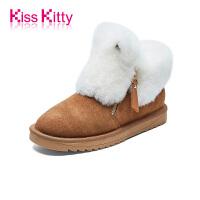 KissKitty2017冬季新款保暖加绒加厚平底雪地靴女皮毛一体短靴
