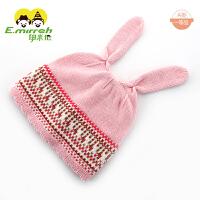 新生儿帽子婴儿帽子春秋0-3-6-个月小兔子女宝宝纯棉帽子61 粉红色 S码 建议头围38-44CM