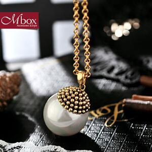 新年礼物Mbox毛衣项链 女长款百搭韩国版秋冬镶嵌时尚贝珍珠项链 森林问候