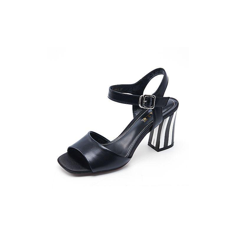 Belle/百丽夏专柜同款沙丁牛皮革女皮凉鞋R3S1DBL7
