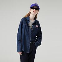初语港风衬衫女秋装新款宽松韩版bf风翻领蓝色长袖牛仔衬衣