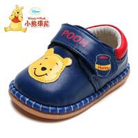 小熊维尼童鞋学步鞋男宝宝婴儿皮鞋软底0-1-2岁半真皮皮鞋女宝宝