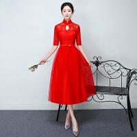 宴会晚礼服新款冬季韩版显瘦中长款礼服中袖立领结婚敬酒服女 红色